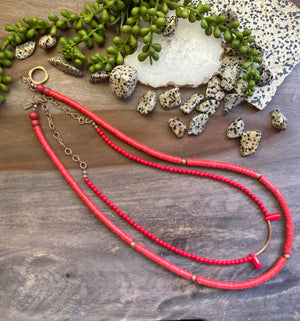 Red & Mountain Jade Vinyl Necklace with Copper Accents