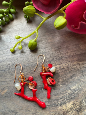 Red Coral Branch Dangle Earrings