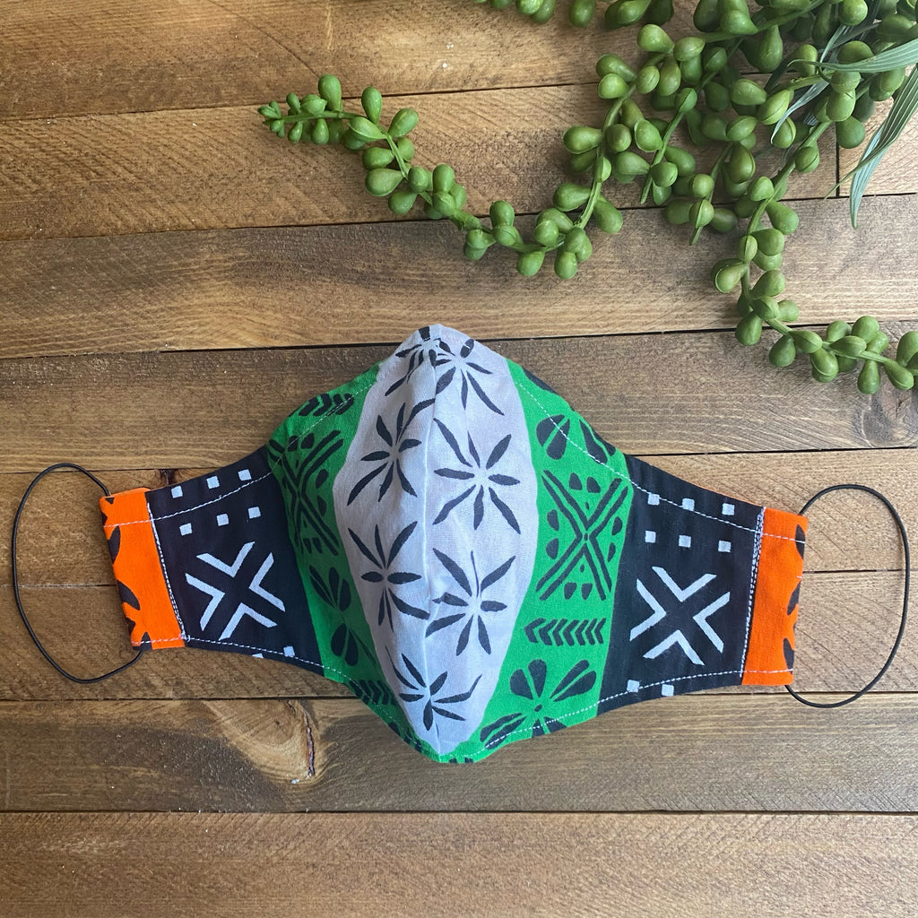 Black, White Green & Orange Mudcloth Fabric Mask
