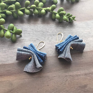 Light Denim Ruffle Earrings