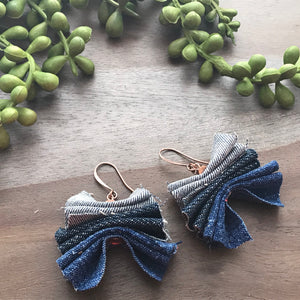 Denim Ruffle Earrings