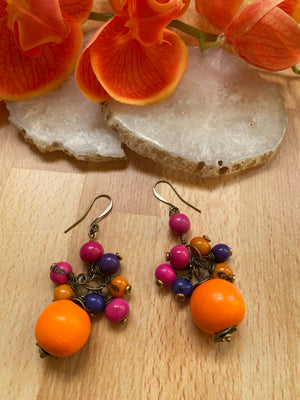 Orange, Pink & Purple Wood & Acai Cluster Earrings
