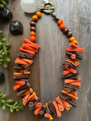 Orange & Brown Leather Necklace