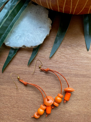 Orange Leather Cord Earrings [SALE]