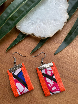 Orange Leather w/ Pink Fabric Earrings [SALE]