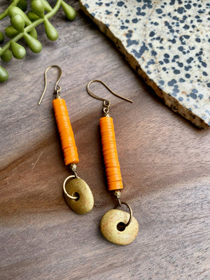 Orange Vinyl & Mykonos Ceramic Earrings