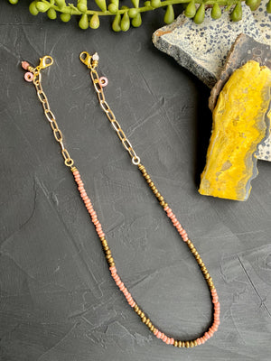 Pink & Gold Glass Mask Chain