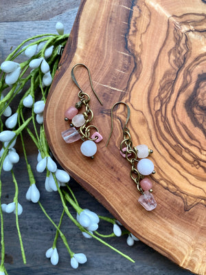 Rose Quartz & African Glass Dangle Earrings