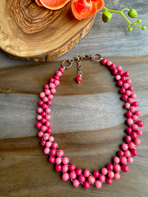 Shades of Pink Acai Bib Necklace