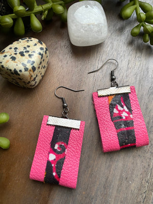 Pink Leather w/ Fabric Earrings [SALE]