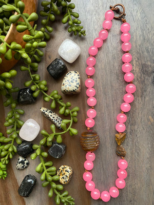 Pink Candy Jade, Horn & Tiger Eye Necklace