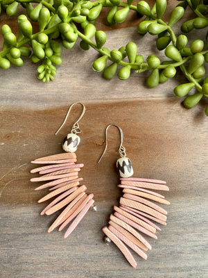 Dusty Pink Cocowood Spike Earrings w/ Bone Accent