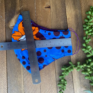 Blue & Eggplant Ankara Fabric Mask w/ Orange Flower