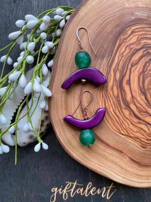 Green w/ Purple Tagua & African Recycled Glass Earrings