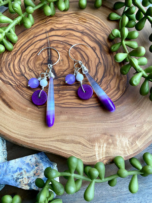 Purple Chalcedony Cluster Earrings