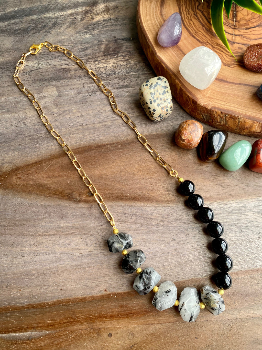 Rutilated Tourmaline Quartz & Onyx Agate Necklace