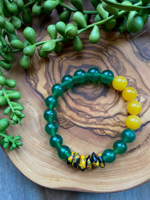 Black, Red, Yellow & Green Beaded Bracelet Trio