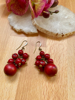 Red Wood & Acai Cluster Earrings