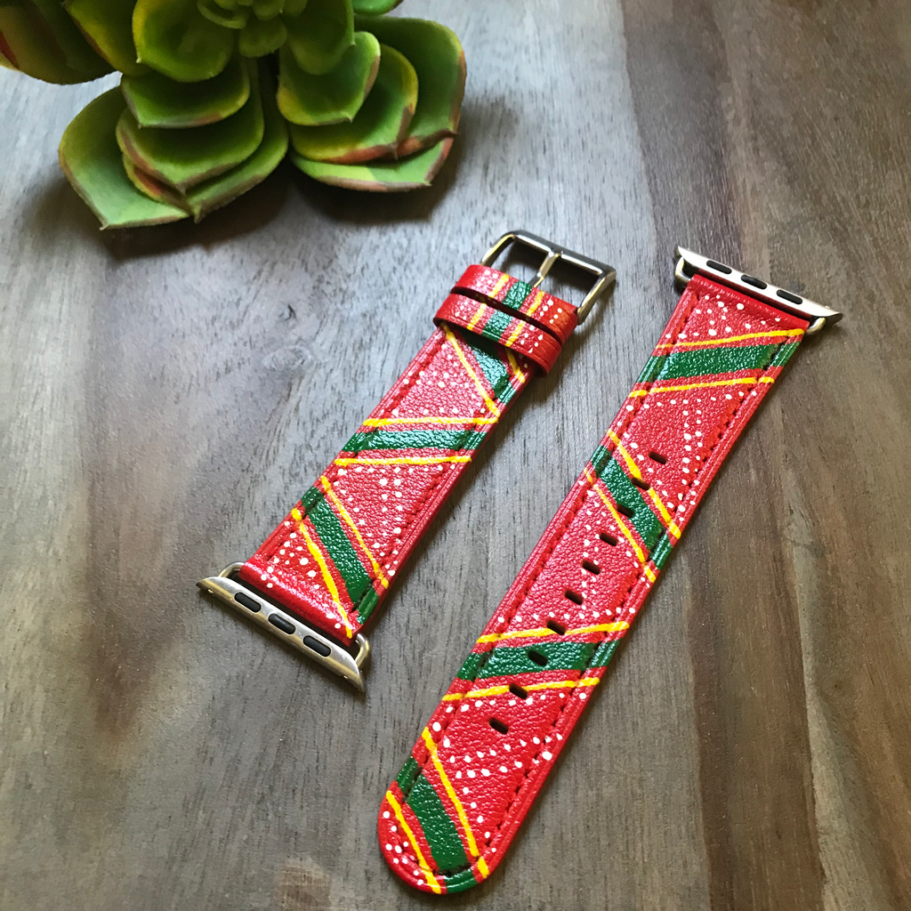 Red w/ Green & Yellow Design Leather Apple Watch Band (42/44)