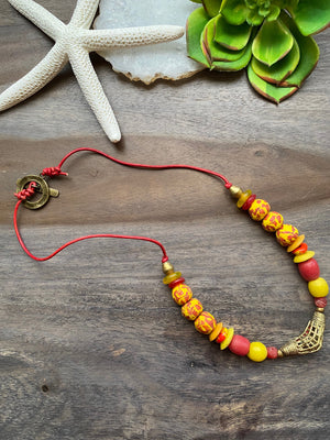 Yellow & Red African Glass Necklace