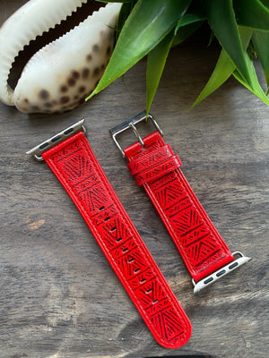 Red w/ Scarlet Design Apple Watch Band (42/44)