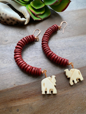 Red Cocowood With Bone Elephant Earrings