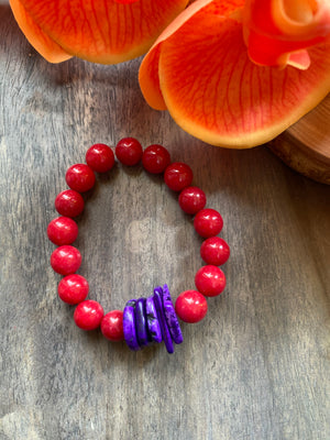 Red Jade & Purple Accent Beaded Bracelet