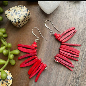 Red Cocowood Spike Earrings w/ African Glass Accents
