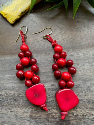 Red Tagua, Wood & Acai Statement Earrings