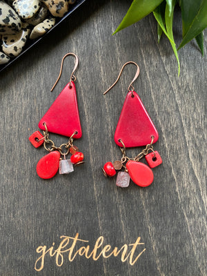 Red Tagua Triangle Earrings