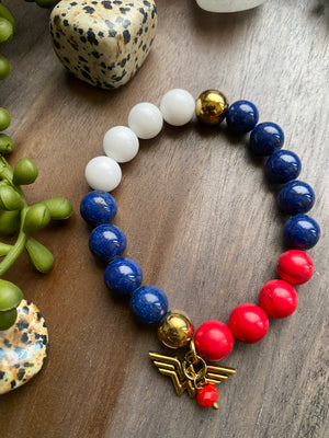 White, Blue & Red Superhero Beaded Bracelet