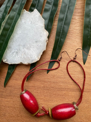 Red Wood Earrings on Genuine Leather Cord [SALE]