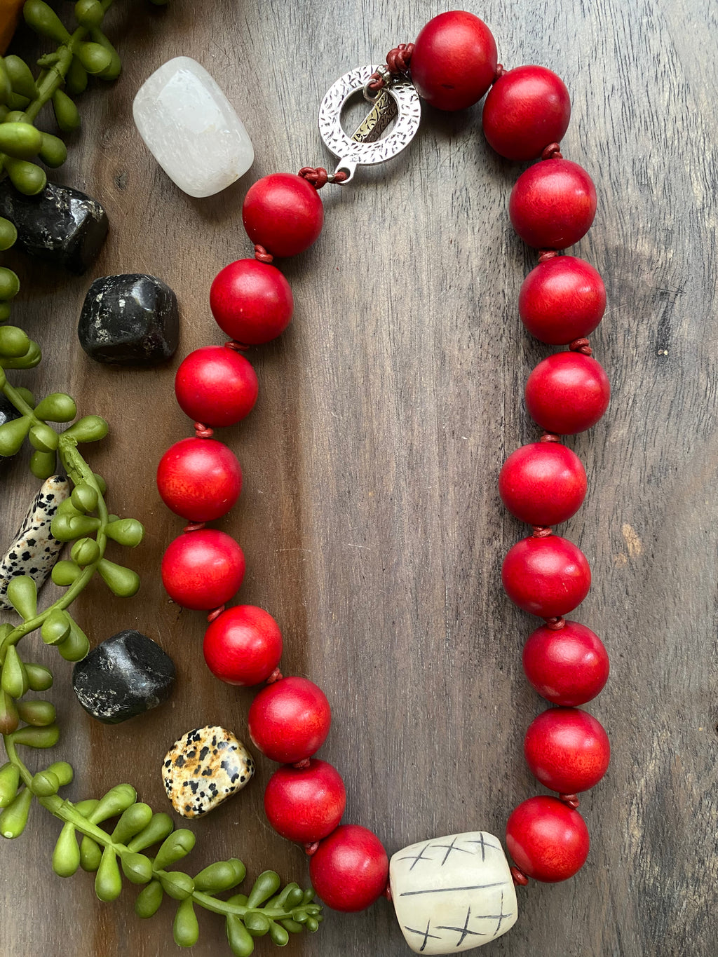 Red Wood & Cream Bone Statement Necklace