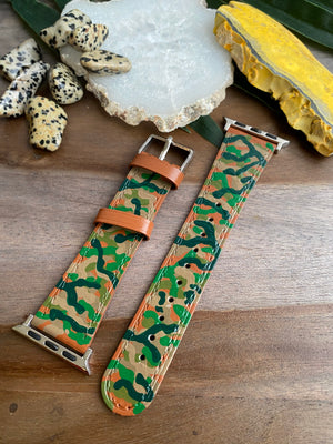 Brown Camo Design Genuine Leather Apple Watch Band (38/40)