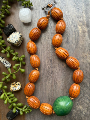 Saddle Brown Wood & Green Tagua Necklace