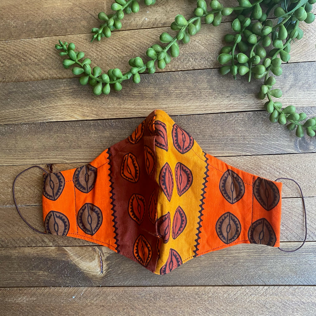Orange, Mustard & Brown Cowrie Shell Fabric Mask