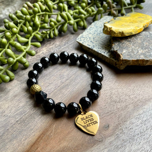 Black & Gold BLM Beaded Bracelet with Brass Accent