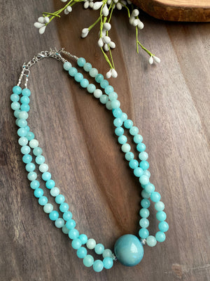 Sky Blue Amazonite & Tagua Double Strand Necklace