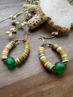 Orange, Green & White Vinyl Earrings
