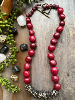 Red Tagua & Dyed Bone Saucer Necklace