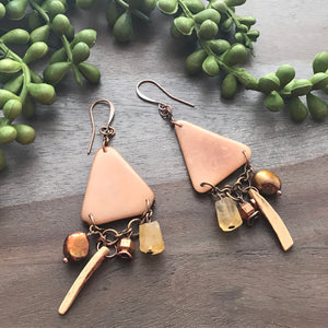 Cream Tagua Triangle Earrings