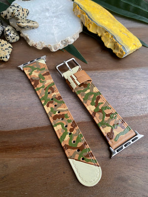 Tan Camo Design Genuine Leather Apple Watch Band (38/40)