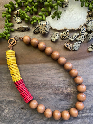 Tan, Yellow & Red Statement Necklace