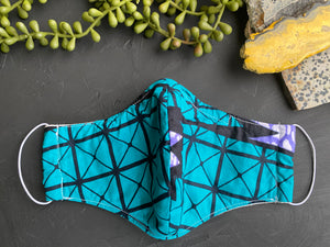 Teal Ankara Fabric Mask