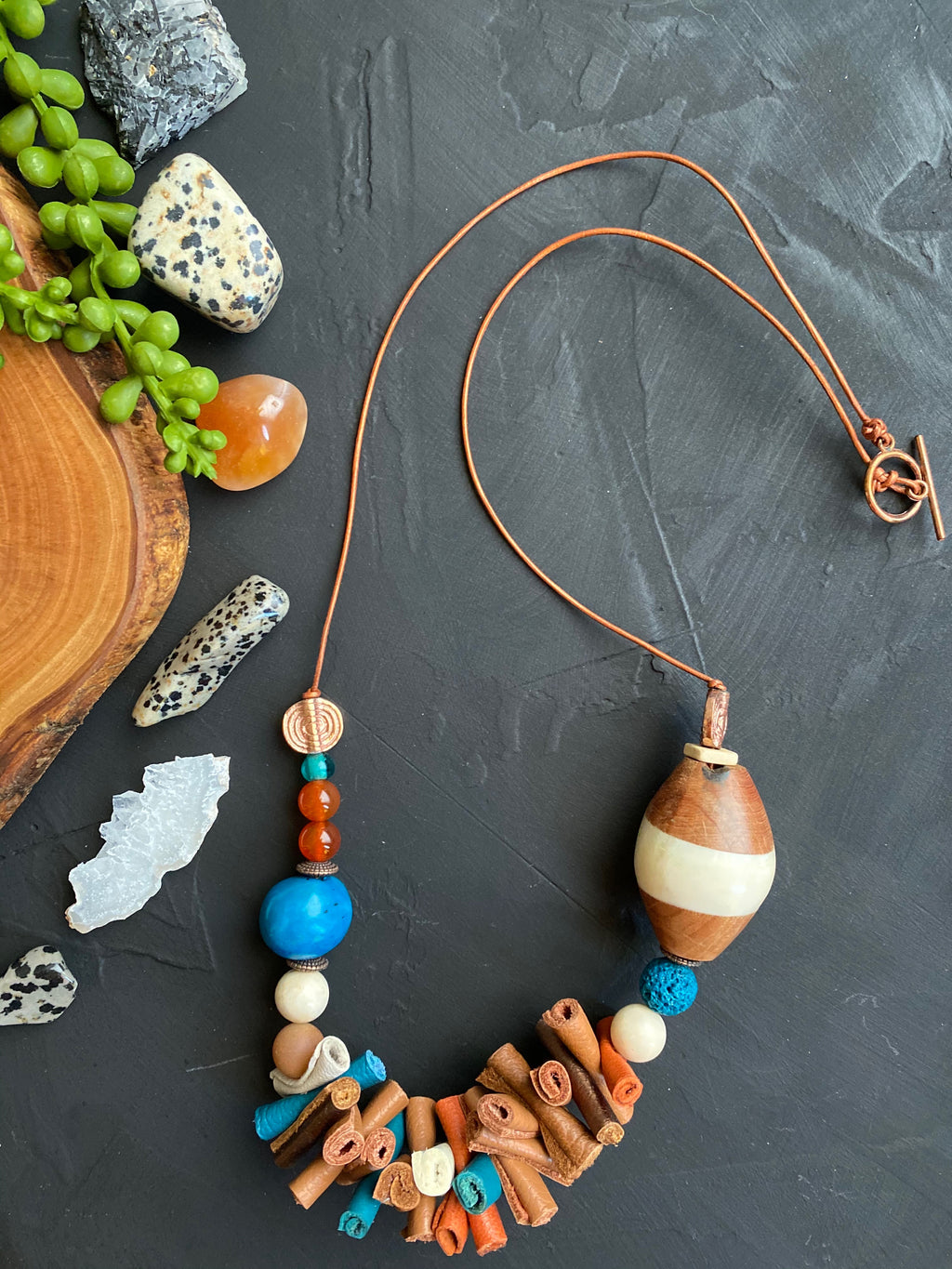Cream, Teal & Brown Leather Necklace [SALE]