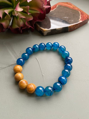 Teal & Wood Jasper Beaded Bracelet