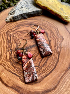 Leopard Jasper Cluster Earrings