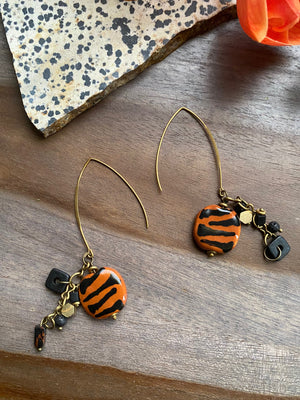 Tiger Stripe Kazuri Earrings