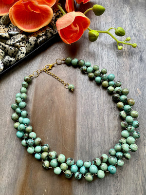 Tiger Aqua Blue Acai Bib Necklace