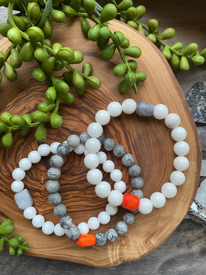 Gray, White & Orange Beaded Bracelet Trio